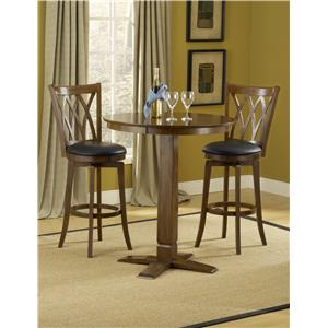3-Piece Bar Table and Brown Cherry Finished Upholstered Bar Stool Set