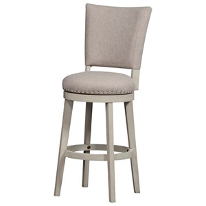 Upholstered Swivel Counter Stool with Nailhead Trim