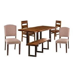 Table, 2 Chairs, 2 Upholstered Chair, Bench