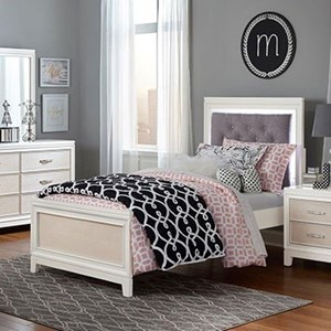 Twin Bed with Upholstered Headboard and LED Backlight