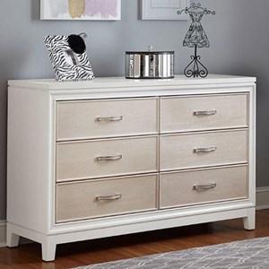 6 Drawer Dresser with Crystal Embellished Drawer Pulls