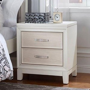 Two Drawer Nightstand with Chrystal Embellished Drawer Pulls