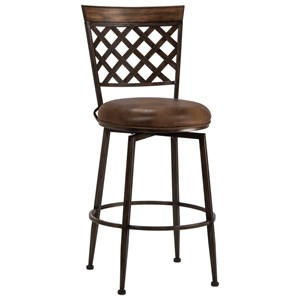 Casual Commercial-Grade Swivel Counter Stool with Lattice Back