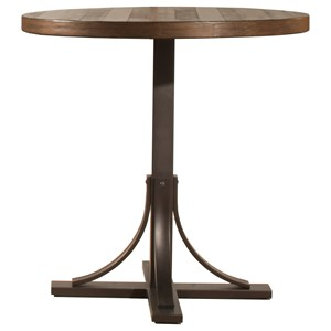 Rustic Round Counter Height Table with Metal Base