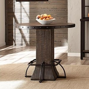 Rustic Round Counter Height Table with Wood Pedestal Base