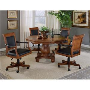 Five Piece Game Table Set with Leather Chairs