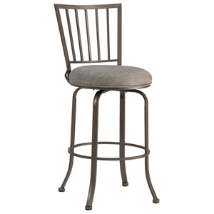 Casual Commercial-Grade Swivel Counter Stool with Gray Upholstery