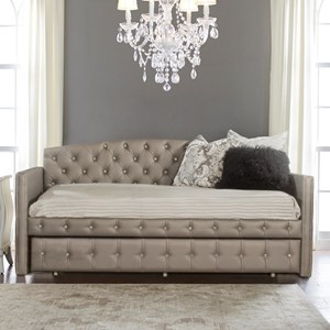Upholstered Daybed with Diamond Tufting and Suspension Deck