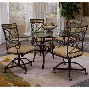 Hillsdale Pompei Scrolling 5 Piece Dining Set with Casters