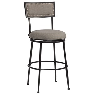 Transitional Commercial Grade Swivel Counter Stool with Nailhead Trim