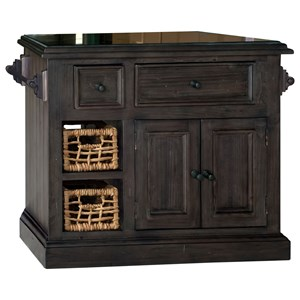 Small Granite Top Kitchen Island with Two Baskets