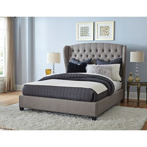 Upholstered Queen Bed Set with Wingback Headboard