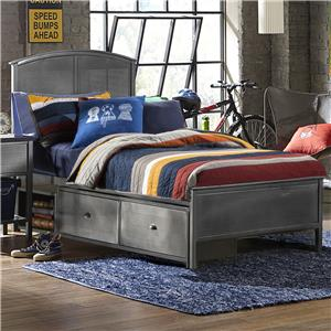 Contemporary Full Panel Storage Bed with Rails