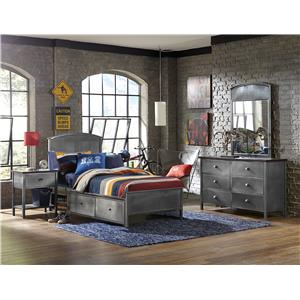 Four Piece Set with Full Panel Storage Bed
