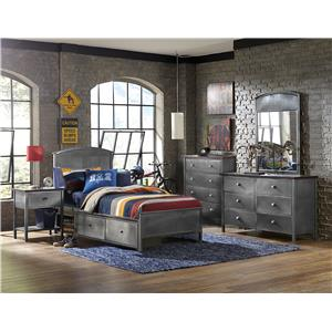 Contemporary Five Piece Set with Full Storage Bed