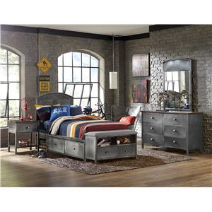 Contemporary Four Piece Full Bed Set with Storage Bench