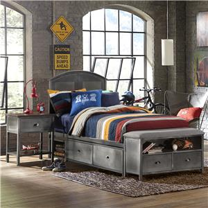 Contemporary Twin Storage Bed Set with Footboard Bench