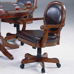 Caster Game Chair with Brown Leather Upholstery