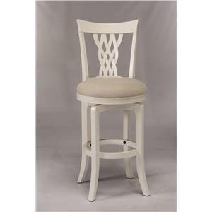White Swiveling Bar Stool with Braided Wooden Back