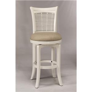 White Swiveling Counter Height Stool with Upholstered Seat