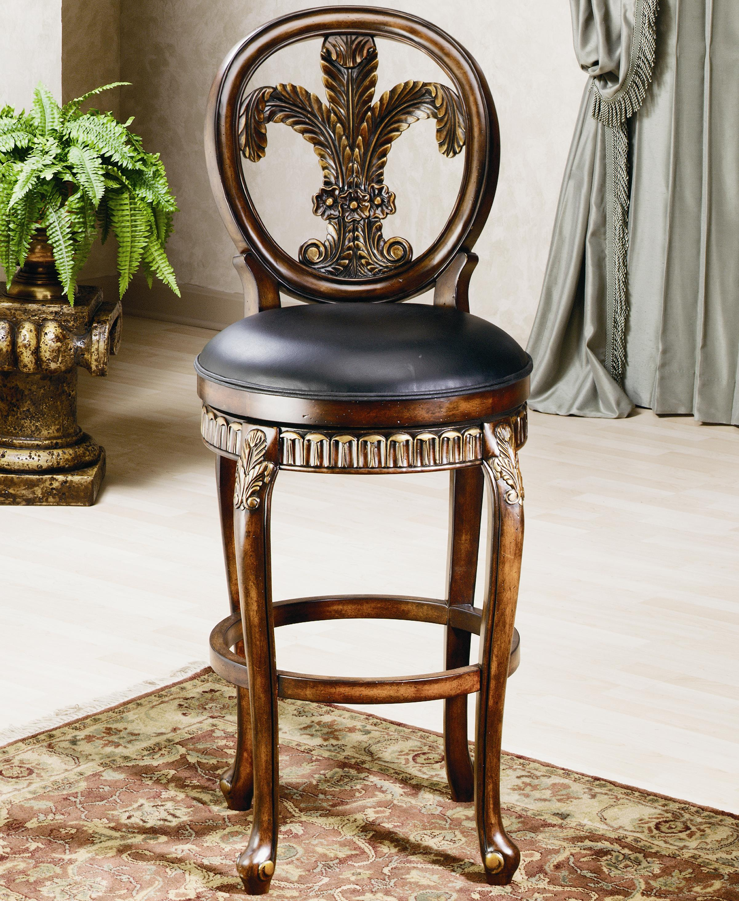 """Wood Stools 25"""" Counter Height Fleur De Lis Stool by Hillsdale at Mueller Furniture"""