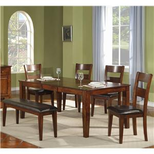 Holland House 1279 Leg Table with Ladder Back Chairs and Bench