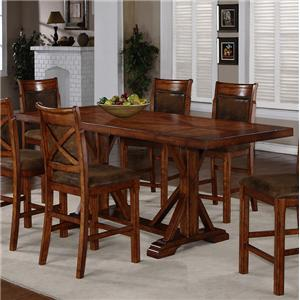 Trestle Counter Height Table with 2 Leaves