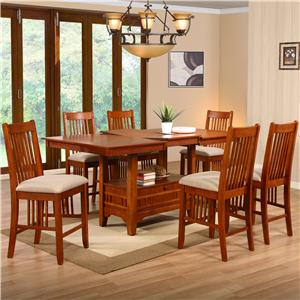 Holland House Brown Mission Dining 7 Piece Counter Height Table Set