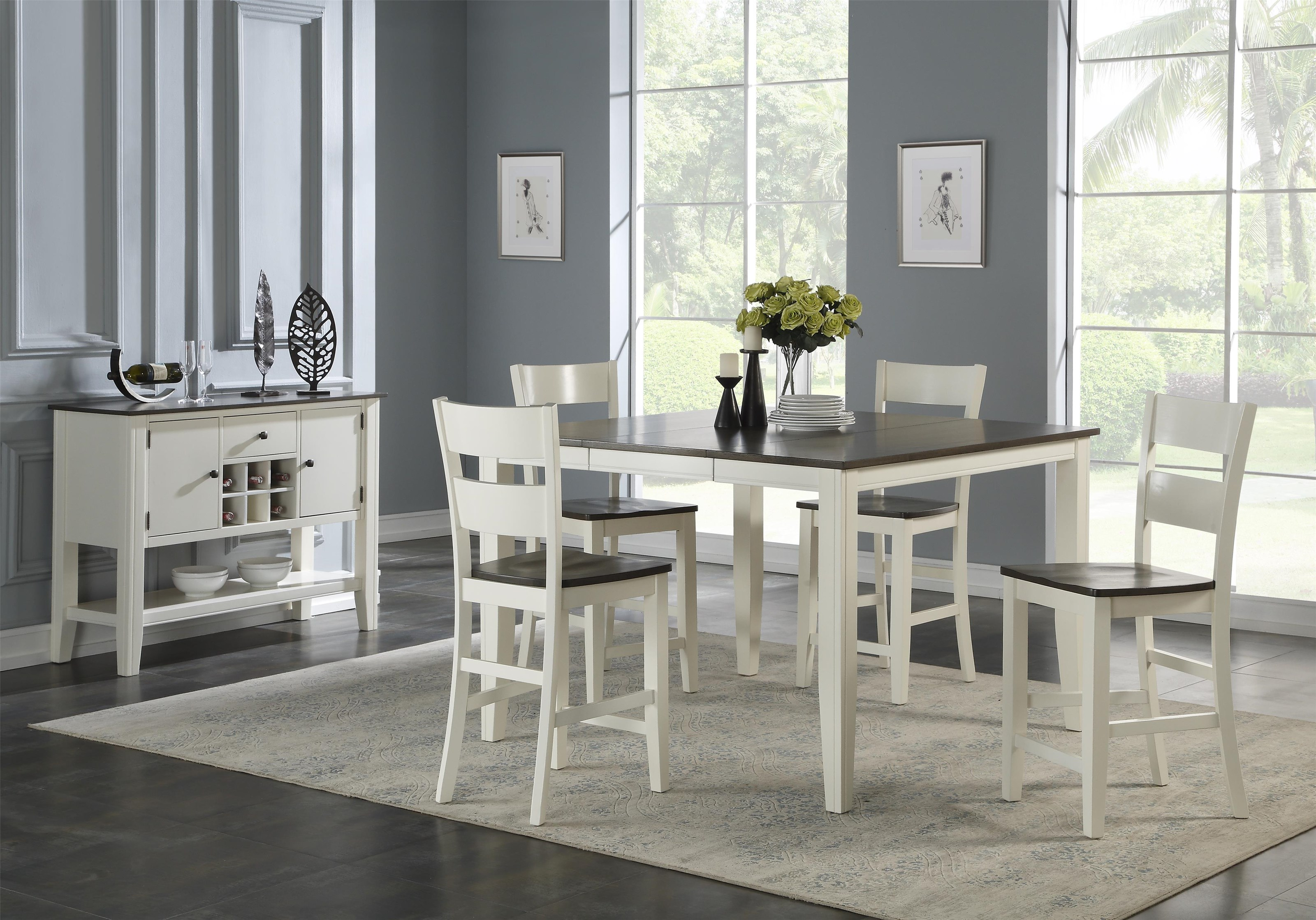 Carey White Counter Table + 4 Stools by HH at Walker's Furniture