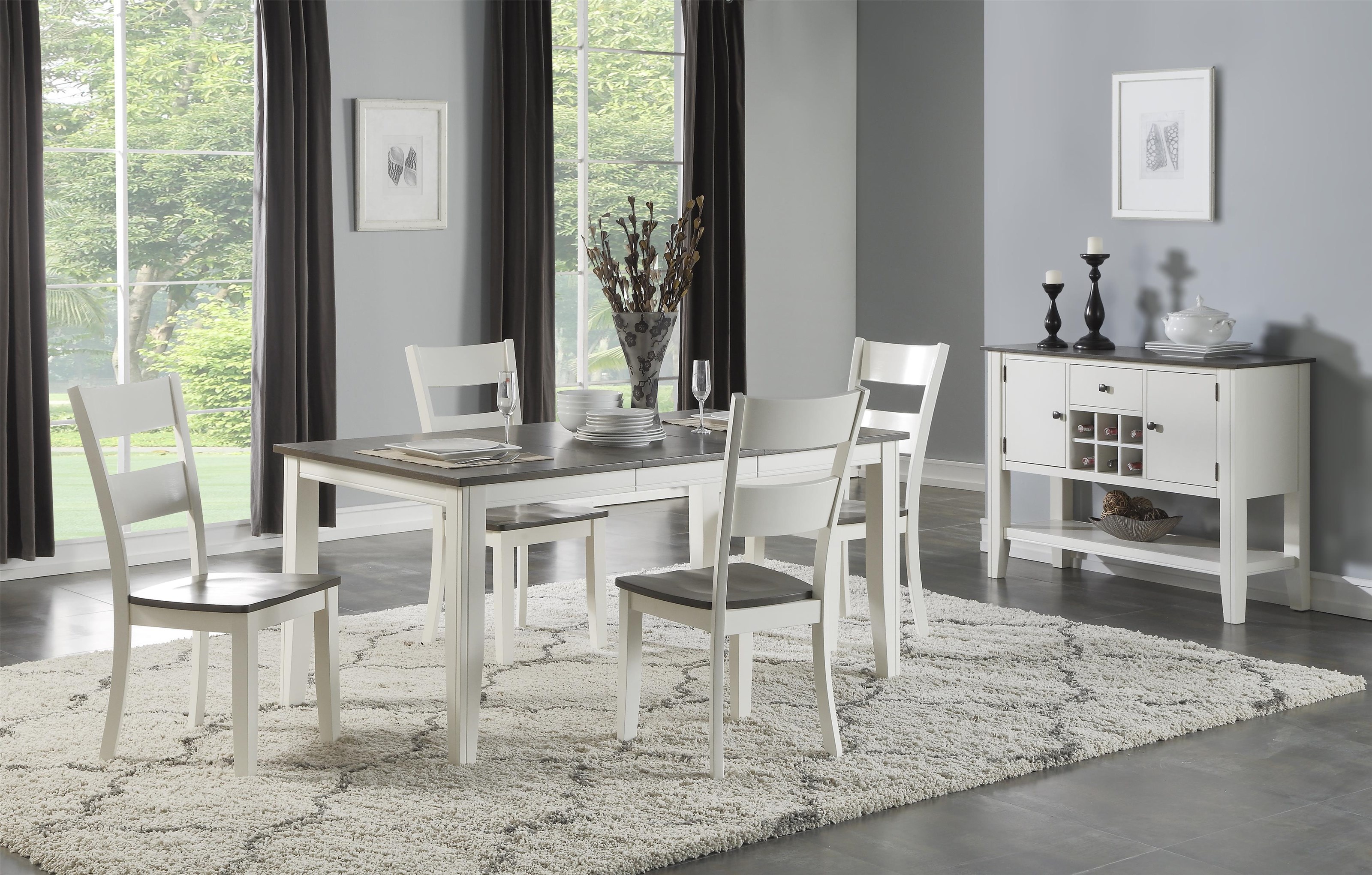 Carey White Table + 4 Chairs by HH at Walker's Furniture