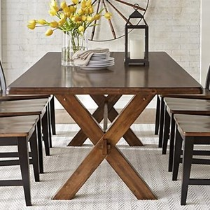 Solid Wood Dining Table with X Base Trestle