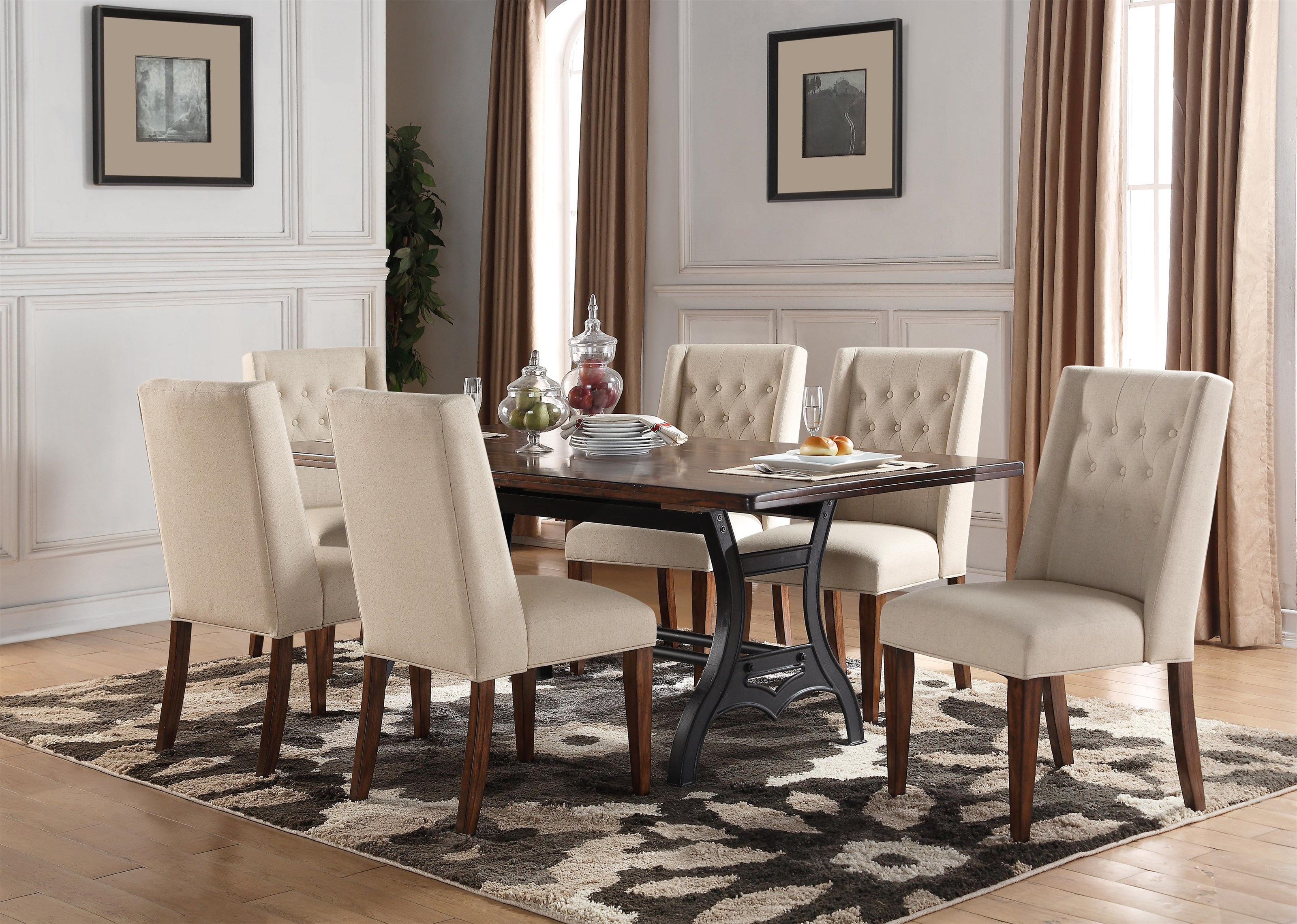 Creston Creston 5-Piece Dining Set with 4 Tufted Ch by Holland House at Morris Home