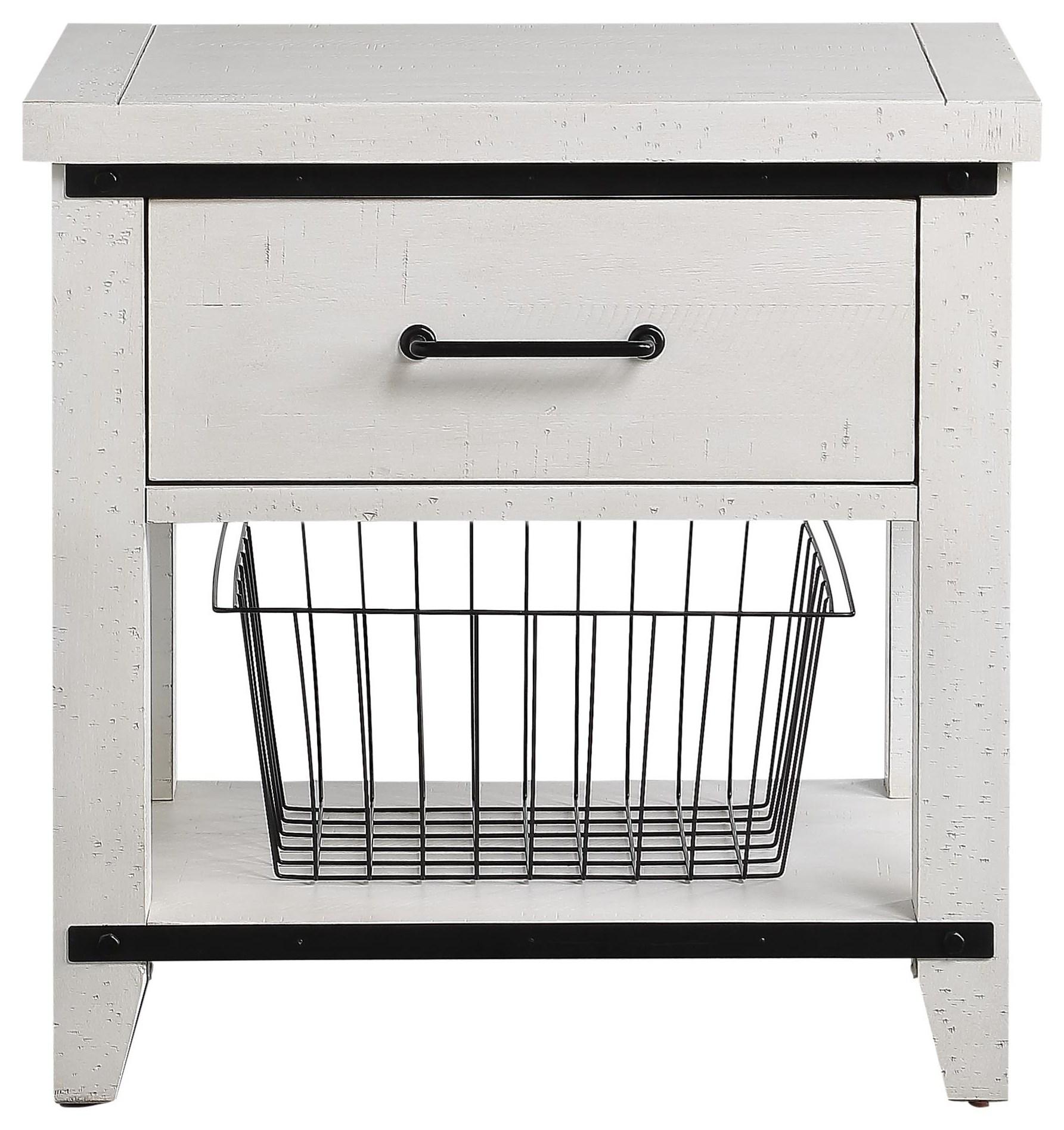 Dakota 1 Drawer Nightstand W/Basket by HH at Walker's Furniture