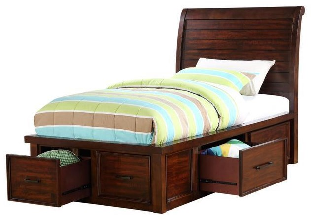 HAYWARD TWIN SLEIGH BED WITH STORAGE WITH DRAWERS by HH at Walker's Furniture