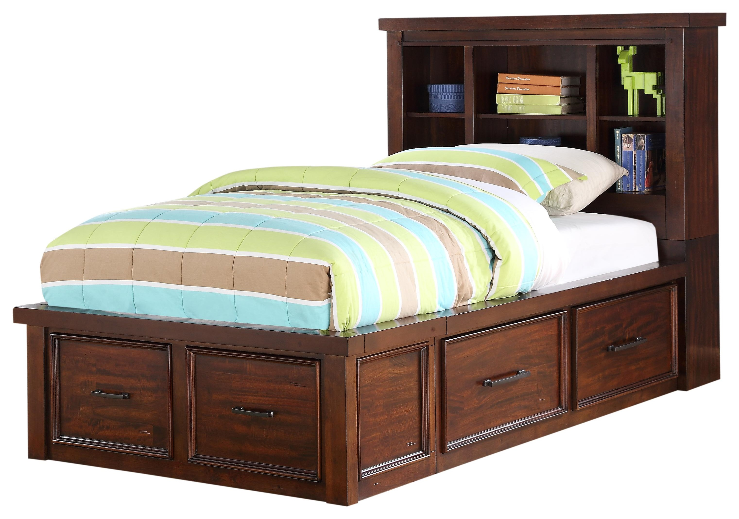 HAYWARD TWIN BOOKCASE BED WITH STORAGE DRAWERS by HH at Walker's Furniture