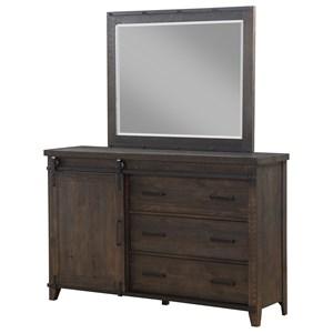 Dresser with Barn Door Hardware & Mirror