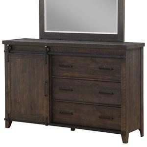 Drawer Dresser with Barn Door Hardware & Soft-Closing Drawers
