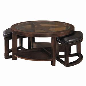 Round Cocktail Table with 2 Ottomans