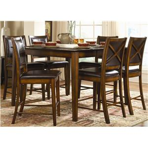 7 Piece Counter Height Dining Set with X-Back Chairs