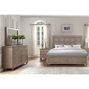 King Panel Bed, Dresser, Mirror & Nightstand