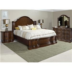 Queen Sleigh Bed with Dresser, Mirror, and Nightstand