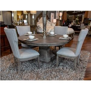 Pedestal Table with Four Upholstered Side Chairs with Nailhead Trim