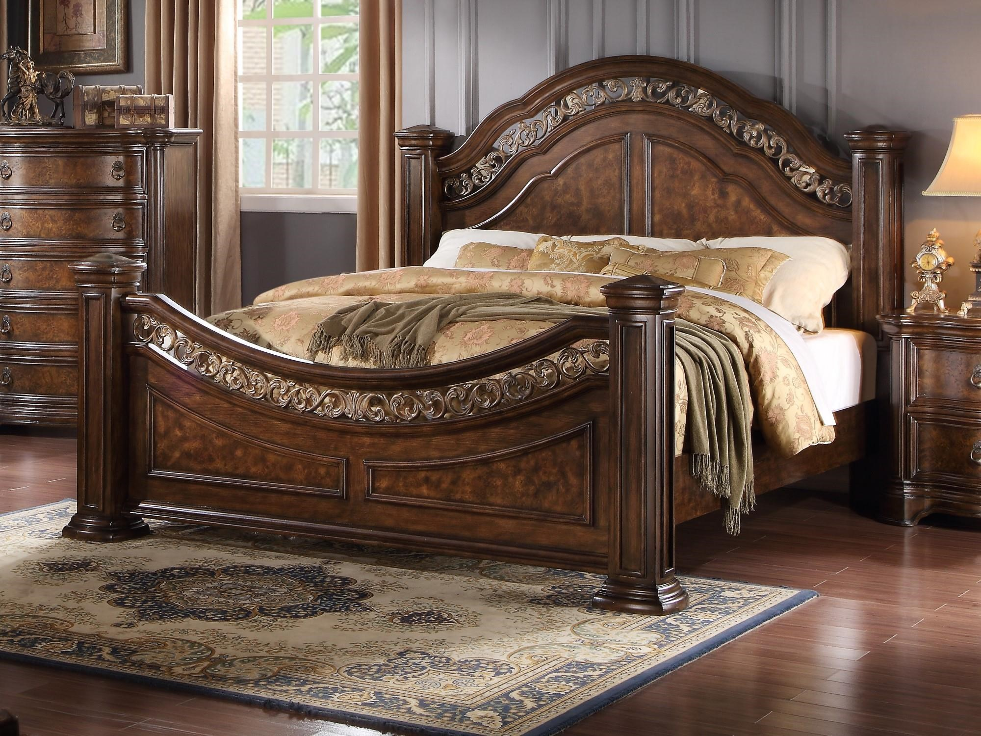 King Bed with Metal Inserts