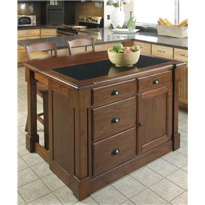 Home Styles Aspen Granite Top Kitchen Island and Stool Set