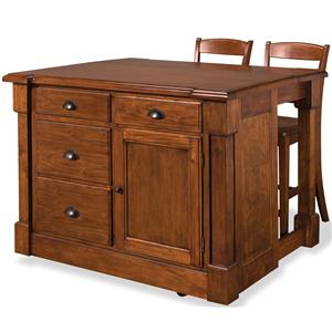 Home Styles Aspen Kitchen Island and Bar Stool Set