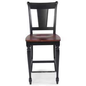 Transitional Counter Height Stool with Slat Back