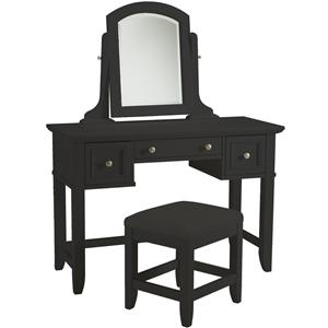 Home Styles Bedford Black Vanity and Bench