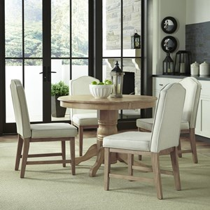 Country Style 5 Piece Dining Group with Round Table