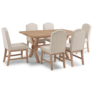 Country Style 7 Piece Dining Group with Trestle Table and Upholstered Chairs