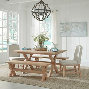 Country Style 5 Piece Dining Group with Trestle Table, Benches, Upholstered Chairs